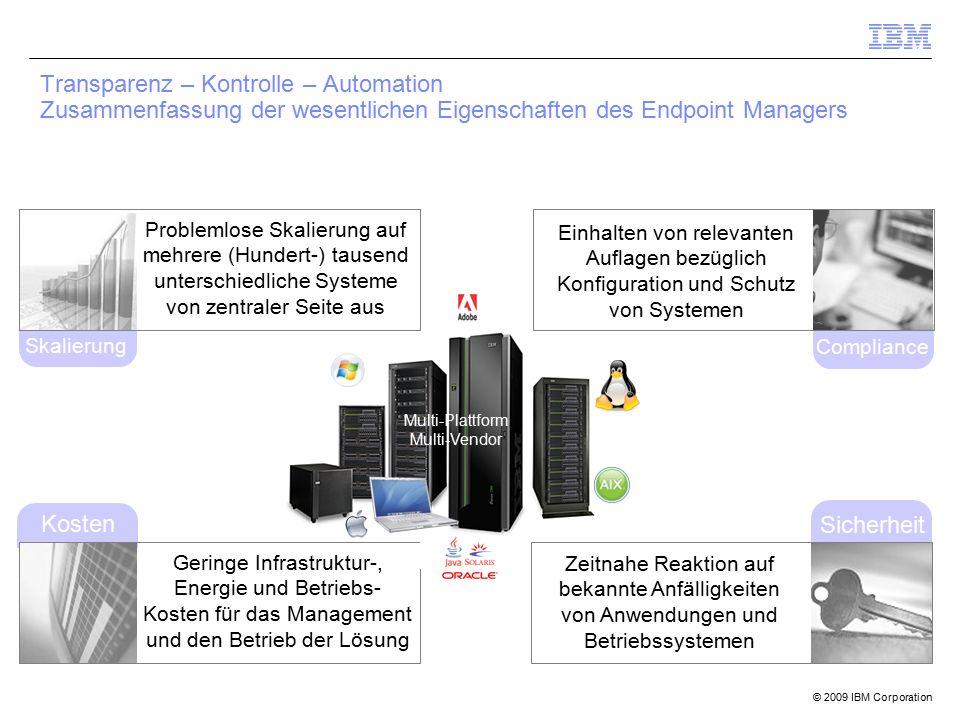 © 2009 IBM Corporation Compliance Kosten Transparenz – Kontrolle – Automation Zusammenfassung der wesentlichen Eigenschaften des Endpoint Managers Sic