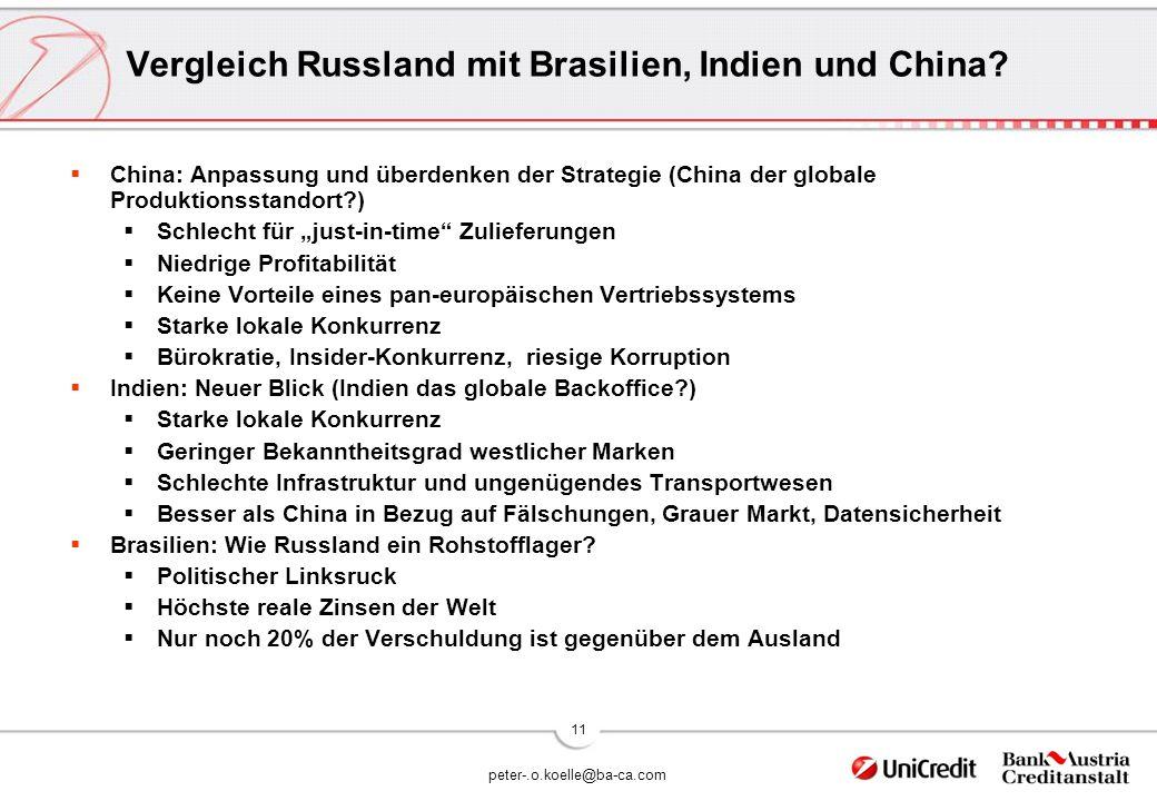 peter-.o.koelle@ba-ca.com 11 Vergleich Russland mit Brasilien, Indien und China.
