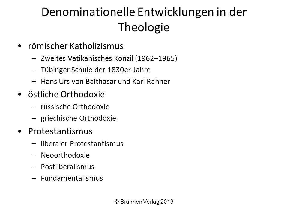 Denominationelle Entwicklungen in der Theologie römischer Katholizismus –Zweites Vatikanisches Konzil (1962–1965) –Tübinger Schule der 1830er-Jahre –H