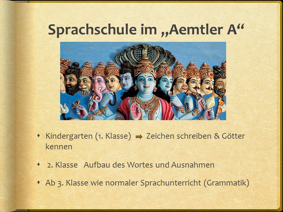 """Sprachschule im """"Aemtler A  Kindergarten (1. Klasse) Zeichen schreiben & Götter kennen  2."""