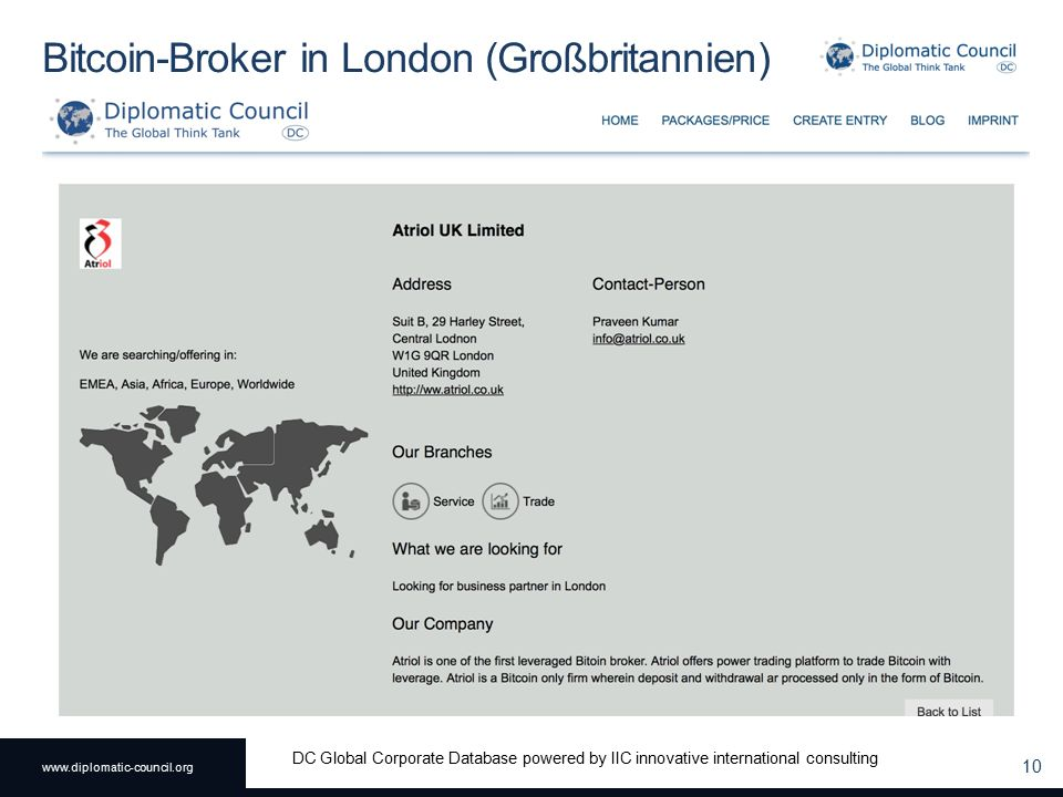 www.diplomatic-council.org DC Global Corporate Database powered by IIC innovative international consulting Bitcoin-Broker in London (Großbritannien) 10