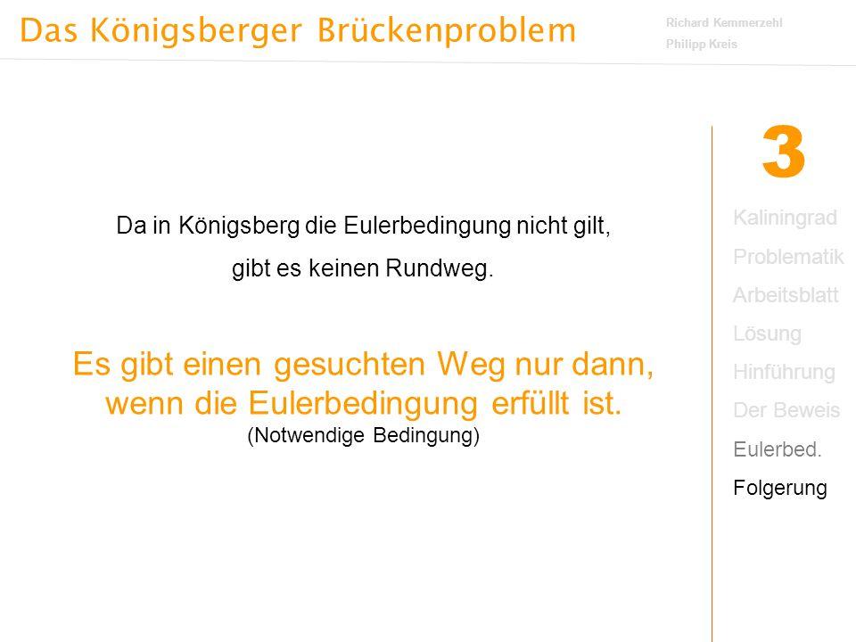 Das Königsberger Brückenproblem Richard Kemmerzehl Philipp Kreis 3 Da in Königsberg die Eulerbedingung nicht gilt, gibt es keinen Rundweg.