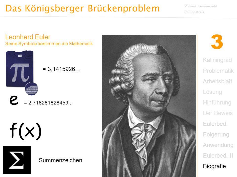 Das Königsberger Brückenproblem Richard Kemmerzehl Philipp Kreis 3 Leonhard Euler Seine Symbole bestimmen die Mathematik = 3,1415926… e = 2,718281828459...