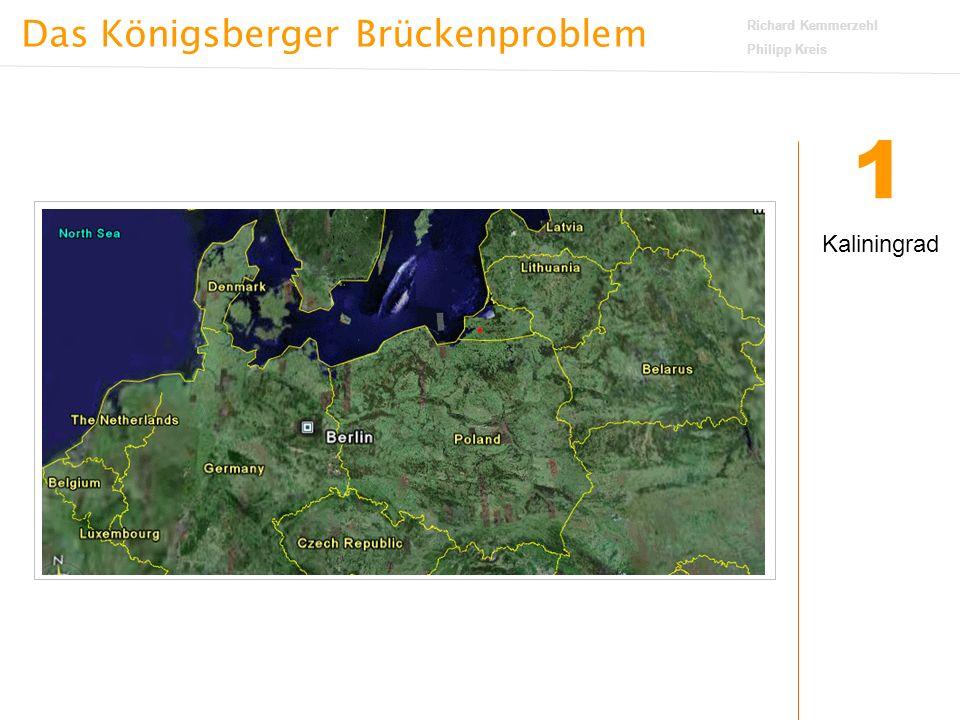 Das Königsberger Brückenproblem Richard Kemmerzehl Philipp Kreis 3 Widerspruch Die Anzahl der Buchstaben aus Folgerung 2 widerspricht der Aussage von Folgerung 1 ES GIBT ALSO KEINEN RUNDWEG, BEI DEM JEDE BRÜCKE GENAU EINMAL ÜBERQUERT WIRD UND DER AUSGANGSPUNKT WIEDER ERREICHT WIRD.