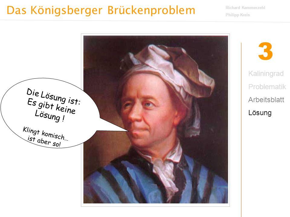 Das Königsberger Brückenproblem Richard Kemmerzehl Philipp Kreis 3 Kaliningrad Problematik Arbeitsblatt Lösung Ich hab's euch bewiesen.