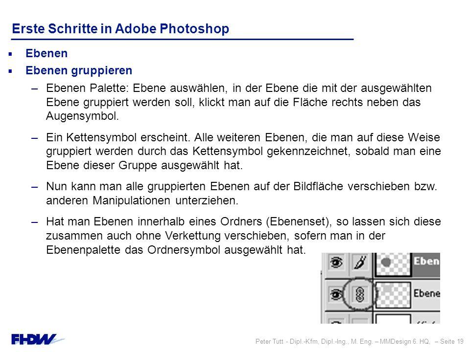 Peter Tutt - Dipl.-Kfm, Dipl.-Ing., M. Eng. – MMDesign 6. HQ, – Seite 19 Erste Schritte in Adobe Photoshop  Ebenen  Ebenen gruppieren –Ebenen Palett