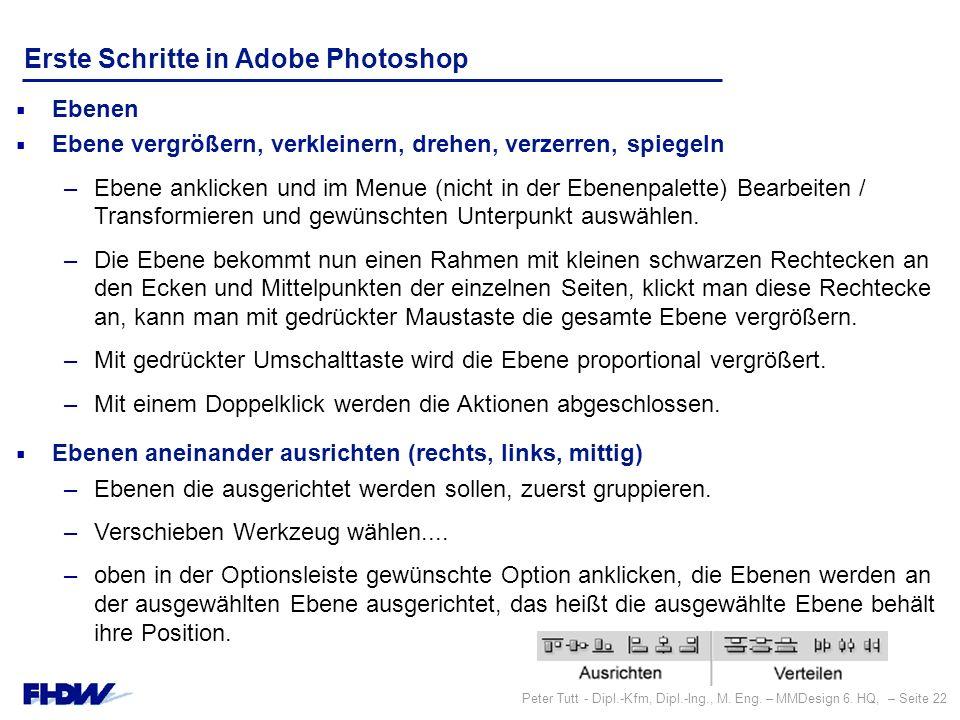 Peter Tutt - Dipl.-Kfm, Dipl.-Ing., M. Eng. – MMDesign 6. HQ, – Seite 22 Erste Schritte in Adobe Photoshop  Ebenen  Ebene vergrößern, verkleinern, d