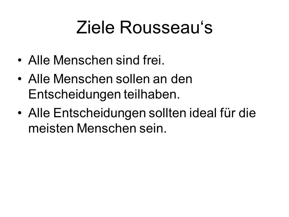 Ziele Rousseau's Alle Menschen sind frei. Alle Menschen sollen an den Entscheidungen teilhaben.