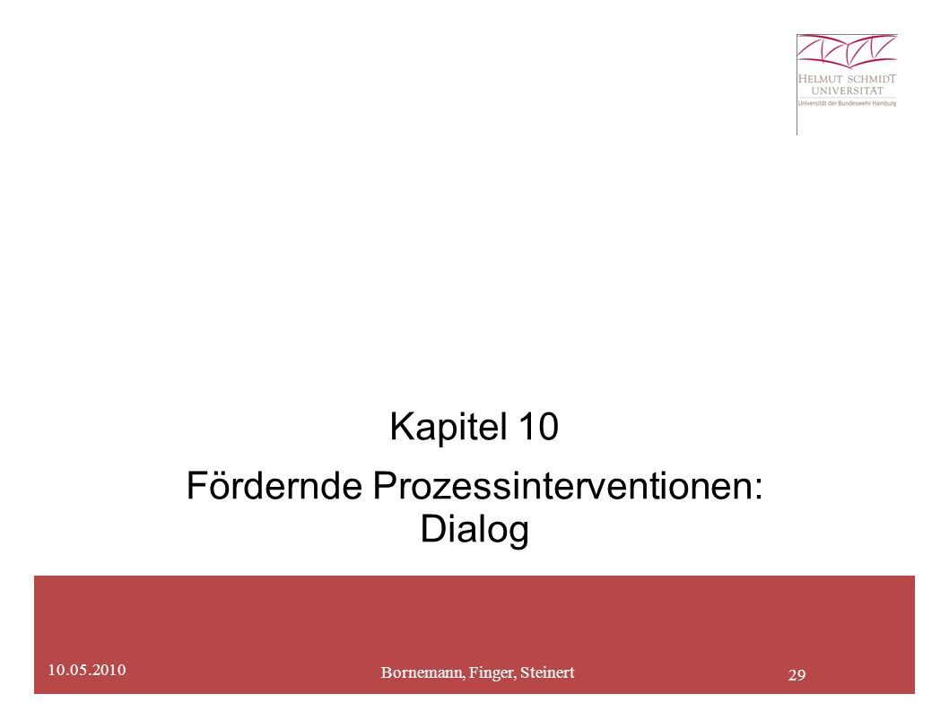 29 Kapitel 10 Fördernde Prozessinterventionen: Dialog Bornemann, Finger, Steinert 10.05.2010