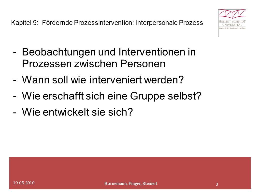 3 Bornemann, Finger, Steinert 10.05.2010 Kapitel 9: Fördernde Prozessintervention: Interpersonale Prozess -Beobachtungen und Interventionen in Prozessen zwischen Personen -Wann soll wie interveniert werden.