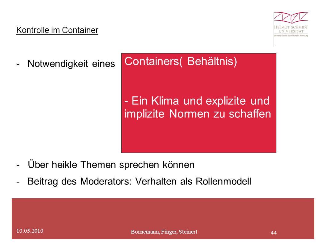 44 Kontrolle im Container -Notwendigkeit eines - Über heikle Themen sprechen können -Beitrag des Moderators: Verhalten als Rollenmodell Bornemann, Finger, Steinert 10.05.2010 Containers( Behältnis) - Ein Klima und explizite und implizite Normen zu schaffen