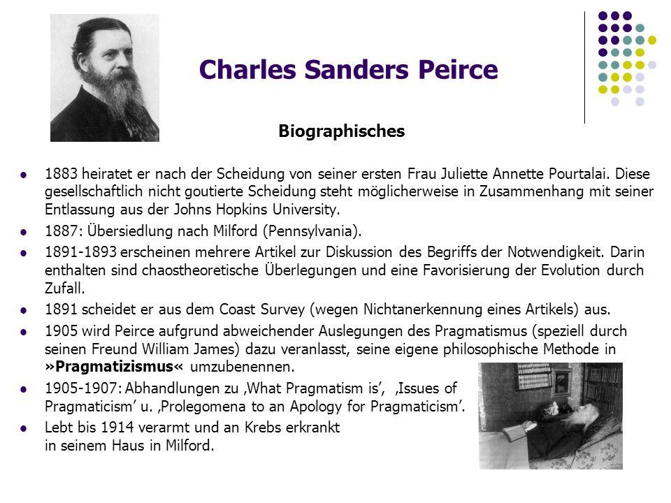 Charles Sanders Peirce Biographisches 1883 heiratet er nach der Scheidung von seiner ersten Frau Juliette Annette Pourtalai.