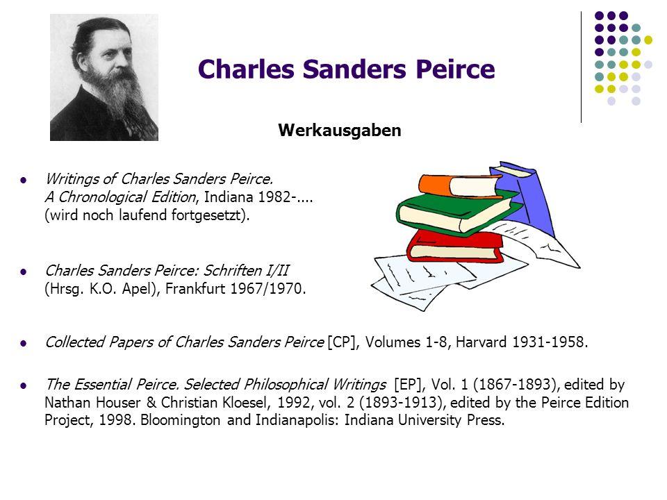 """Charles Sanders Peirce Die pragmatische Maxime """"Pragmatismus ist das Prinzip, daß jedes theoretische Urteil, das in einem Indikativsatz ausdrückbar ist, eine unklare Form des Denkens ist, deren einzige Bedeutung, wenn sie eine besitzt, in der Tendenz liegt, eine korrespondierende praktische Maxime zu verstärken, die als ein Konditionalsatz, dessen Nachsatz im Imperativ steht, ausdrückbar ist. (Peirce, Vorlesungen über Pragmatismus, Hamburg 1991, S.5) """"Überlege, welches die praktischen Wirkungen sind, die unserer Meinung nach vom Objekt unserer Vorstellung erzeugt werden können."""