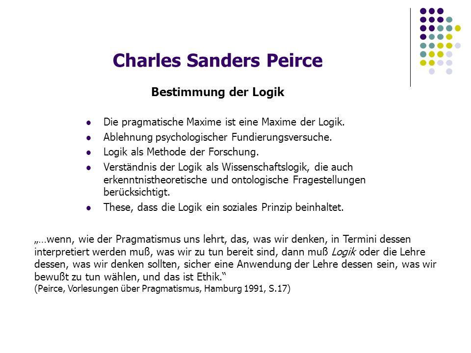 """Charles Sanders Peirce Relationen der Wissenschaften Es """"gilt, daß die drei Normativen Wissenschaften Logik, Ethik und Ästhetik die drei Lehren sind, die gut und schlecht unterscheiden; Logik hinsichtlich der Darstellung der Wahrheit, Ethik hinsichtlich der Willensanstrengungen und Ästhetik in Objekten, die nur in ihrer Präsentation betrachtet werden."""
