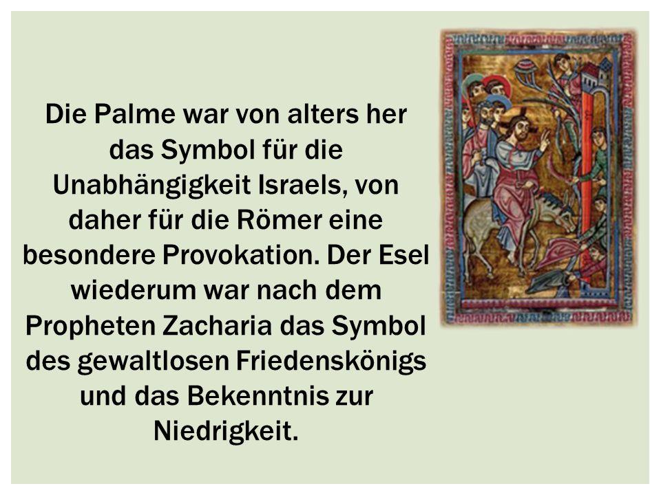 Die Palme war von alters her das Symbol für die Unabhängigkeit Israels, von daher für die Römer eine besondere Provokation. Der Esel wiederum war nach
