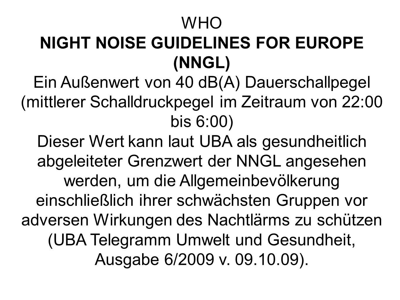 WHO NIGHT NOISE GUIDELINES FOR EUROPE (NNGL) Ein Außenwert von 40 dB(A) Dauerschallpegel (mittlerer Schalldruckpegel im Zeitraum von 22:00 bis 6:00) Dieser Wert kann laut UBA als gesundheitlich abgeleiteter Grenzwert der NNGL angesehen werden, um die Allgemeinbevölkerung einschließlich ihrer schwächsten Gruppen vor adversen Wirkungen des Nachtlärms zu schützen (UBA Telegramm Umwelt und Gesundheit, Ausgabe 6/2009 v.
