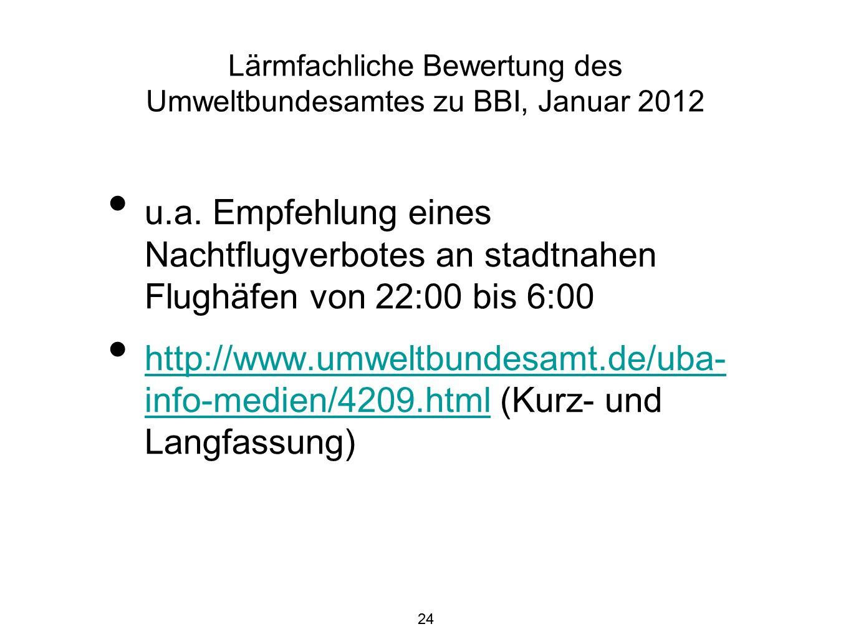24 Lärmfachliche Bewertung des Umweltbundesamtes zu BBI, Januar 2012 u.a.