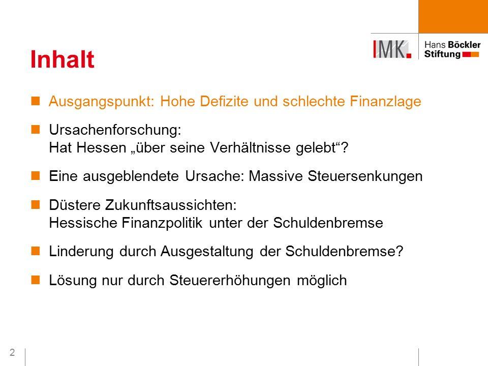 """13 Ausgangspunkt: Hohe Defizite und schlechte Finanzlage Ursachenforschung: Hat Hessen """"über seine Verhältnisse gelebt ."""