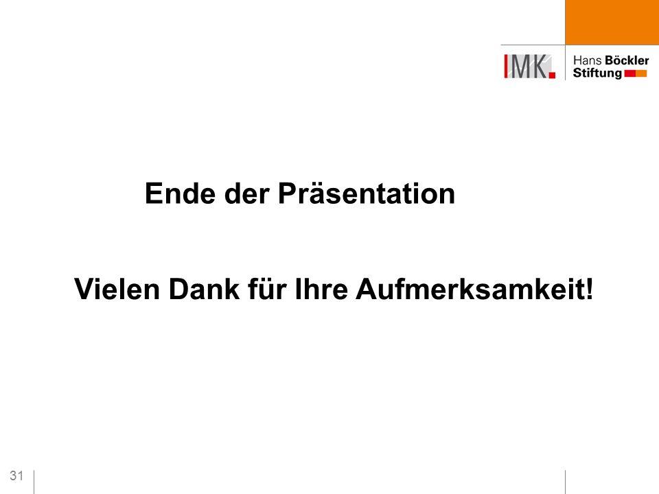 31 Ende der Präsentation Vielen Dank für Ihre Aufmerksamkeit!