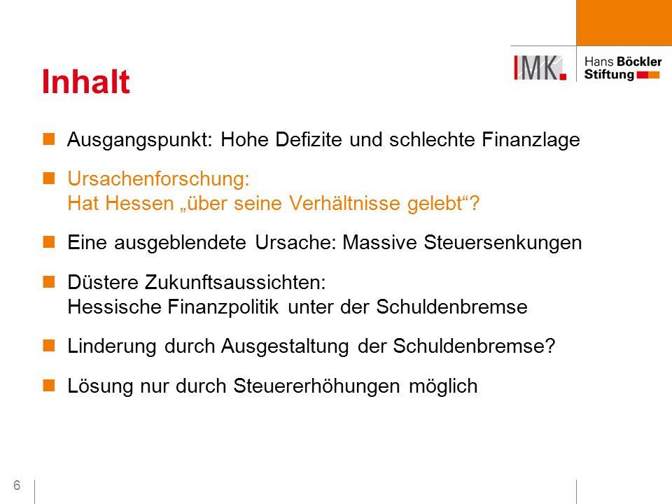"""6 Ausgangspunkt: Hohe Defizite und schlechte Finanzlage Ursachenforschung: Hat Hessen """"über seine Verhältnisse gelebt ."""