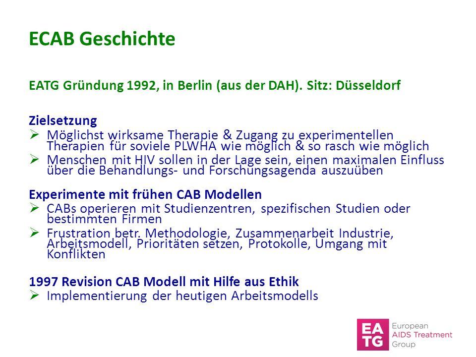 ECAB Geschichte EATG Gründung 1992, in Berlin (aus der DAH). Sitz: Düsseldorf Zielsetzung  Möglichst wirksame Therapie & Zugang zu experimentellen Th