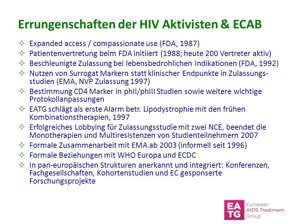 Errungenschaften der HIV Aktivisten & ECAB  Expanded access / compassionate use (FDA, 1987)  Patientenvertretung beim FDA initiiert (1988; heute 200 Vertreter aktiv)  Beschleunigte Zulassung bei lebensbedrohlichen Indikationen (FDA, 1992)  Nutzen von Surrogat Markern statt klinischer Endpunkte in Zulassungs- studien (EMA, NVP Zulassung 1997)  Bestimmung CD4 Marker in phII/phIII Studien sowie weitere wichtige Protokollanpassungen  EATG schlägt als erste Alarm betr.