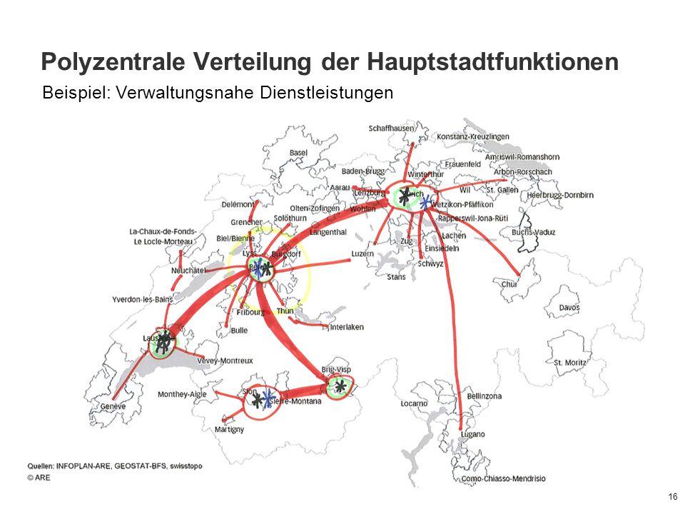 Polyzentrale Verteilung der Hauptstadtfunktionen 16 Beispiel: Verwaltungsnahe Dienstleistungen