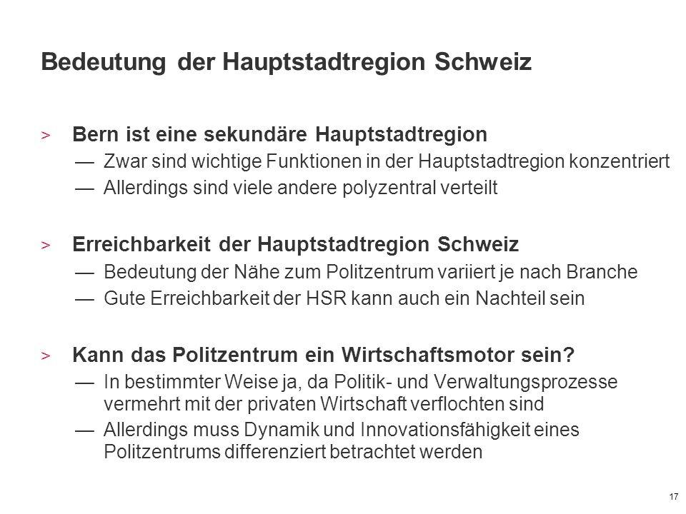 Bedeutung der Hauptstadtregion Schweiz > Bern ist eine sekundäre Hauptstadtregion —Zwar sind wichtige Funktionen in der Hauptstadtregion konzentriert