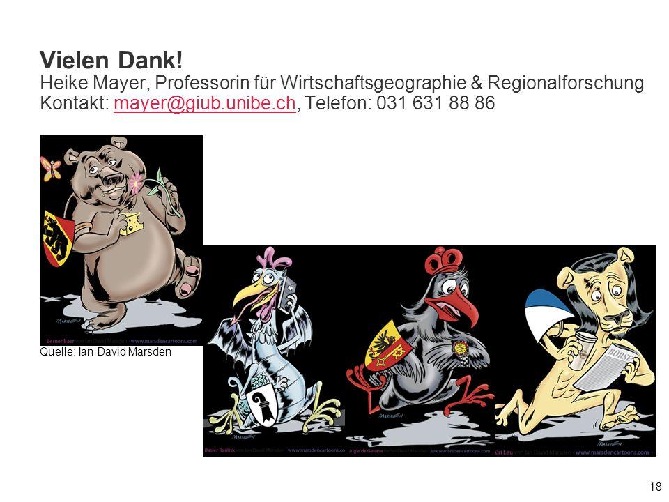Vielen Dank! Heike Mayer, Professorin für Wirtschaftsgeographie & Regionalforschung Kontakt: mayer@giub.unibe.ch, Telefon: 031 631 88 86mayer@giub.uni