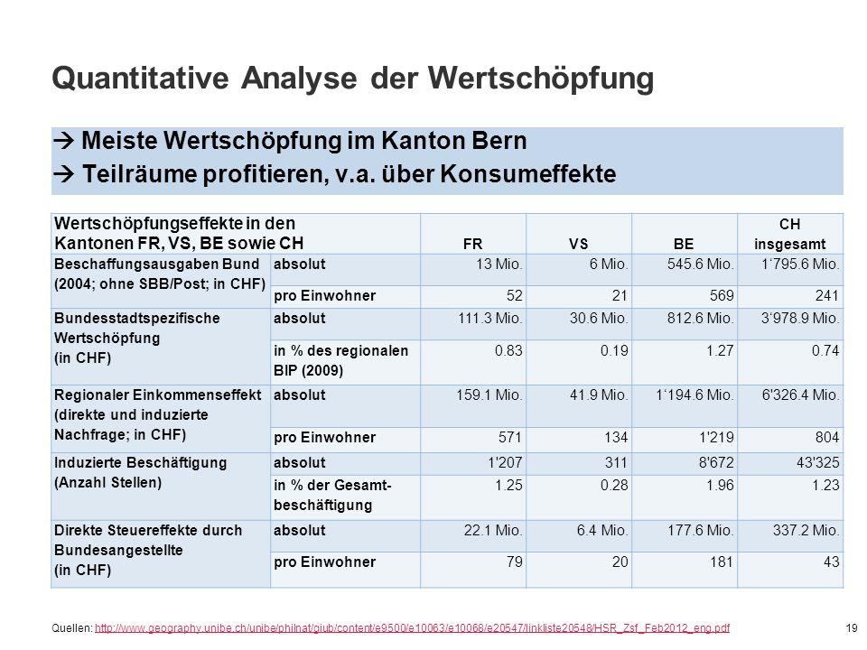 Quantitative Analyse der Wertschöpfung  Meiste Wertschöpfung im Kanton Bern  Teilräume profitieren, v.a. über Konsumeffekte 19 Wertschöpfungseffekte
