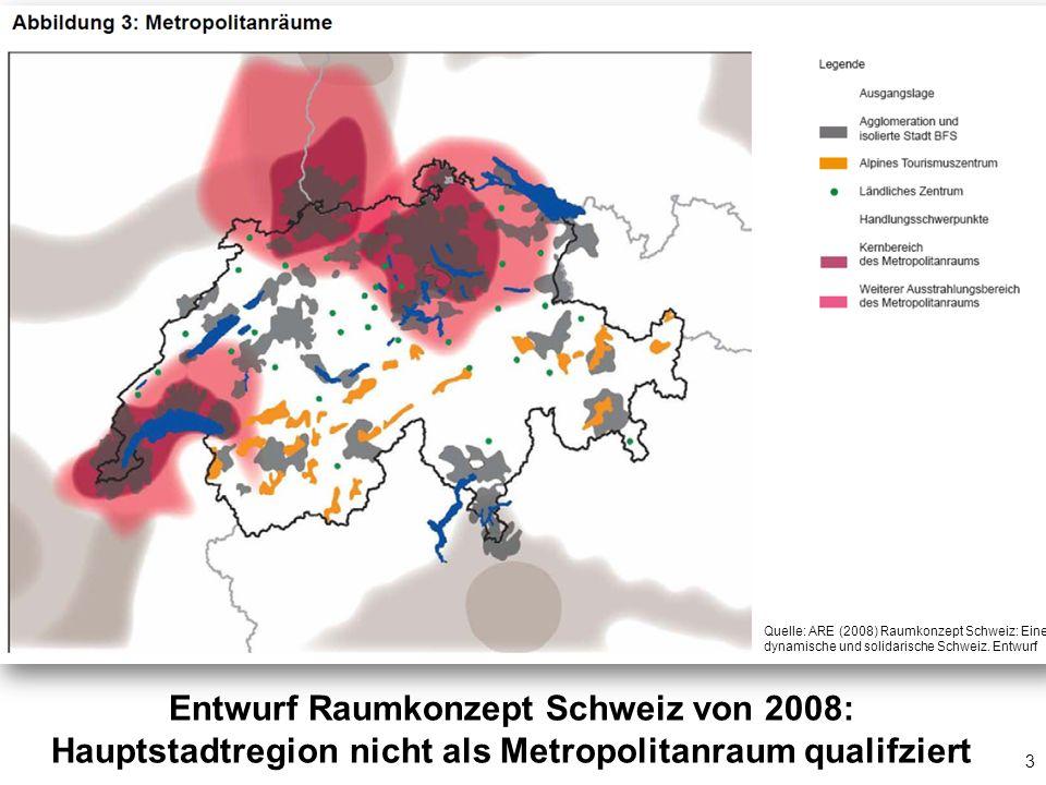 3 Entwurf Raumkonzept Schweiz von 2008: Hauptstadtregion nicht als Metropolitanraum qualifziert Quelle: ARE (2008) Raumkonzept Schweiz: Eine dynamisch