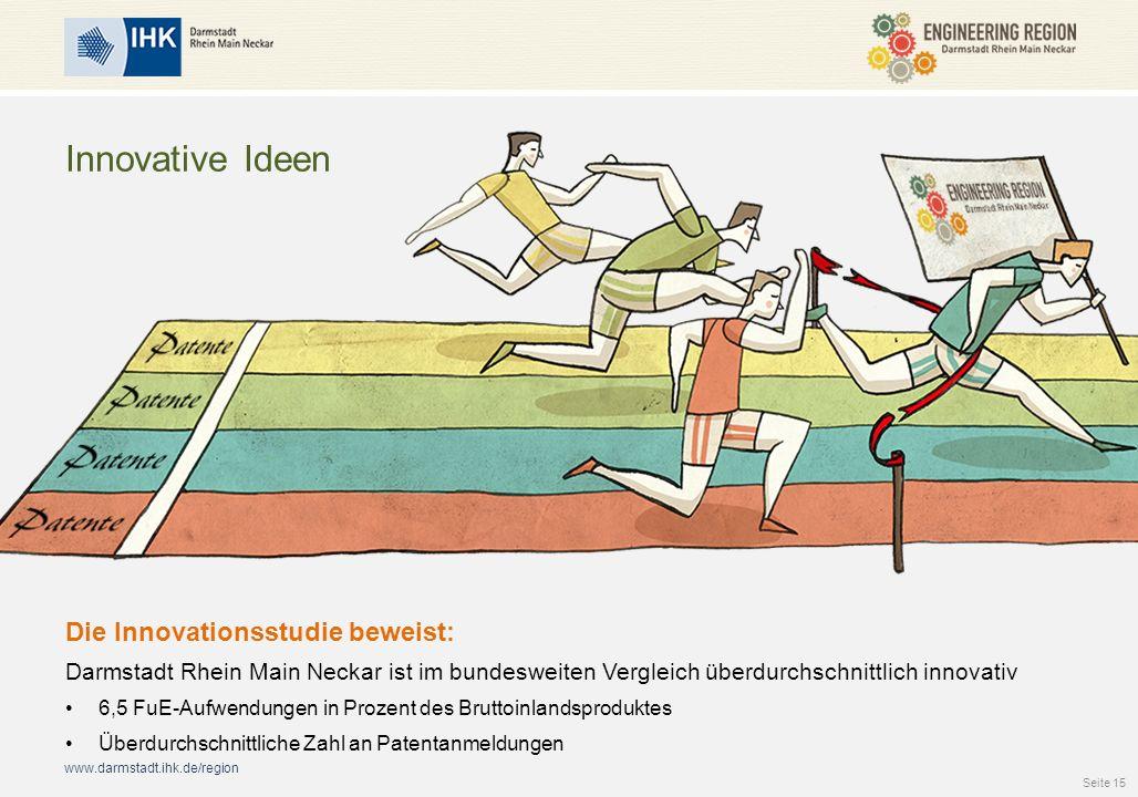 www.darmstadt.ihk.de/region Innovative Ideen Die Innovationsstudie beweist: Darmstadt Rhein Main Neckar ist im bundesweiten Vergleich überdurchschnittlich innovativ 6,5 FuE-Aufwendungen in Prozent des Bruttoinlandsproduktes Überdurchschnittliche Zahl an Patentanmeldungen Seite 15
