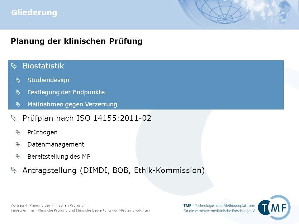 Vortrag 4: Planung der klinischen Prüfung Tagesseminar: Klinische Prüfung und klinische Bewertung von Medizinprodukten Folie 33 Datenbank: Anforderungen Datenschutz: Pseudonymisierung MPG § 12: Aufbewahrung für 15 Jahre MPKPV § 10(2)  Vollst.