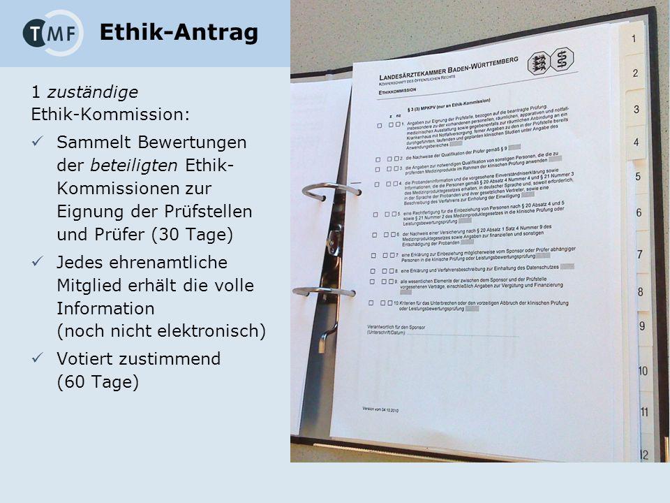 Ethik-Antrag 1 zuständige Ethik-Kommission: Sammelt Bewertungen der beteiligten Ethik- Kommissionen zur Eignung der Prüfstellen und Prüfer (30 Tage) Jedes ehrenamtliche Mitglied erhält die volle Information (noch nicht elektronisch) Votiert zustimmend (60 Tage)