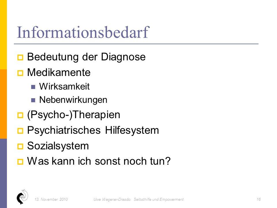  Bedeutung der Diagnose  Medikamente Wirksamkeit Nebenwirkungen  (Psycho-)Therapien  Psychiatrisches Hilfesystem  Sozialsystem  Was kann ich sonst noch tun.
