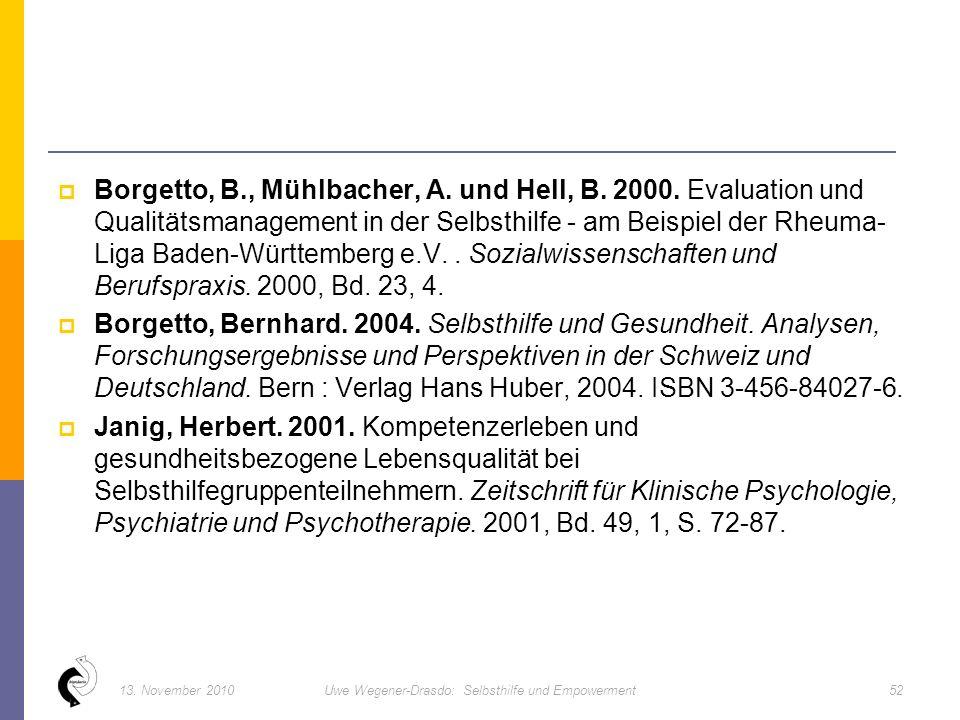  Borgetto, B., Mühlbacher, A. und Hell, B. 2000.