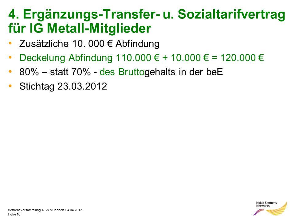 Folie 10 Betriebsversammlung, NSN München 04.04.2012 4. Ergänzungs-Transfer- u. Sozialtarifvertrag für IG Metall-Mitglieder Zusätzliche 10. 000 € Abfi