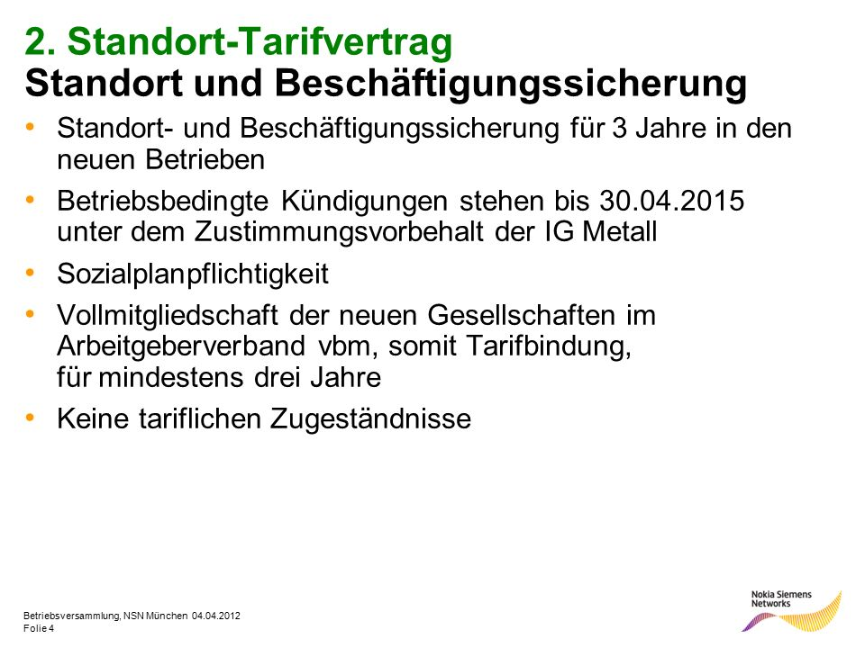 Folie 4 Betriebsversammlung, NSN München 04.04.2012 2. Standort-Tarifvertrag Standort und Beschäftigungssicherung Standort- und Beschäftigungssicherun