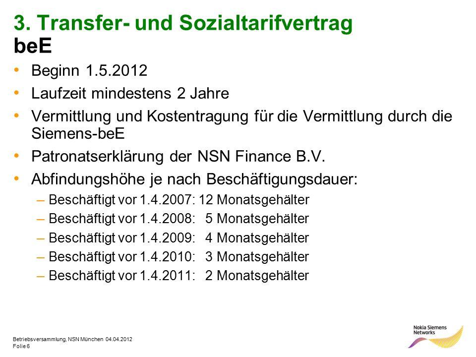 Folie 6 Betriebsversammlung, NSN München 04.04.2012 3. Transfer- und Sozialtarifvertrag beE Beginn 1.5.2012 Laufzeit mindestens 2 Jahre Vermittlung un