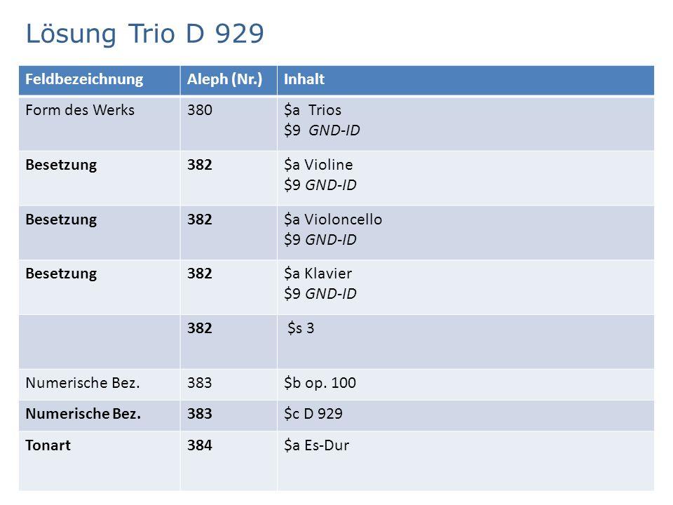Lösung Trio D 929 4 FeldbezeichnungAleph (Nr.)Inhalt Zusätzlicher Sucheinstieg 400$p Schubert, Franz $d 1797-1828 $t Trios $m Violine $m Violoncello $m Klavier $n op.