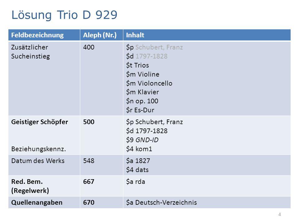Lösung Trio D 929 4 FeldbezeichnungAleph (Nr.)Inhalt Zusätzlicher Sucheinstieg 400$p Schubert, Franz $d 1797-1828 $t Trios $m Violine $m Violoncello $