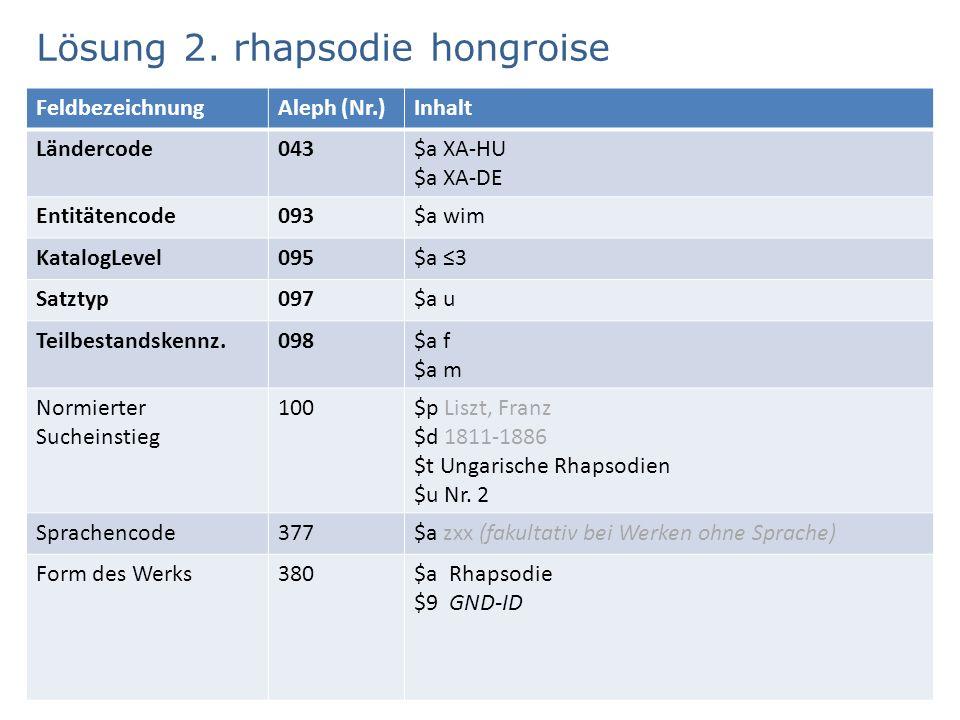 Lösung 2. rhapsodie hongroise 6 FeldbezeichnungAleph (Nr.)Inhalt Ländercode043$a XA-HU $a XA-DE Entitätencode093$a wim KatalogLevel095$a ≤3 Satztyp097
