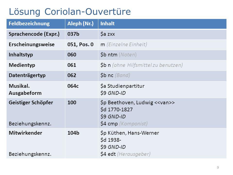Lösung Coriolan-Ouvertüre 9 FeldbezeichnungAleph (Nr.)Inhalt Sprachencode (Expr.)037b$a zxx Erscheinungsweise051, Pos. 0m (Einzelne Einheit) Inhaltsty