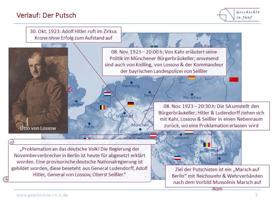 www.geschichte-in-5.de Berlin London Paris München Warschau Kopenhagen Wien Bukarest Frankfurt Hamburg Riga Budapest Rom Verlauf: Der Putsch 5 30.