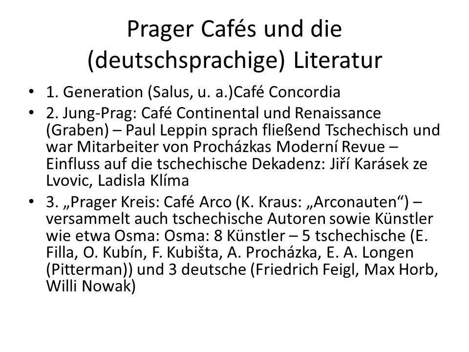 Prager Cafés und die (deutschsprachige) Literatur 1.