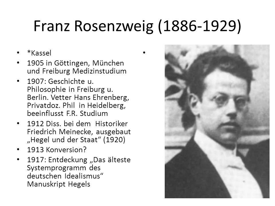 Franz Rosenzweig (1886-1929) *Kassel 1905 in Göttingen, München und Freiburg Medizinstudium 1907: Geschichte u.