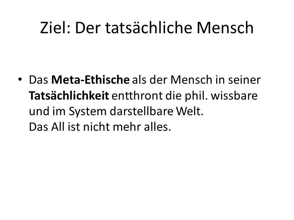 Ziel: Der tatsächliche Mensch Das Meta-Ethische als der Mensch in seiner Tatsächlichkeit entthront die phil.