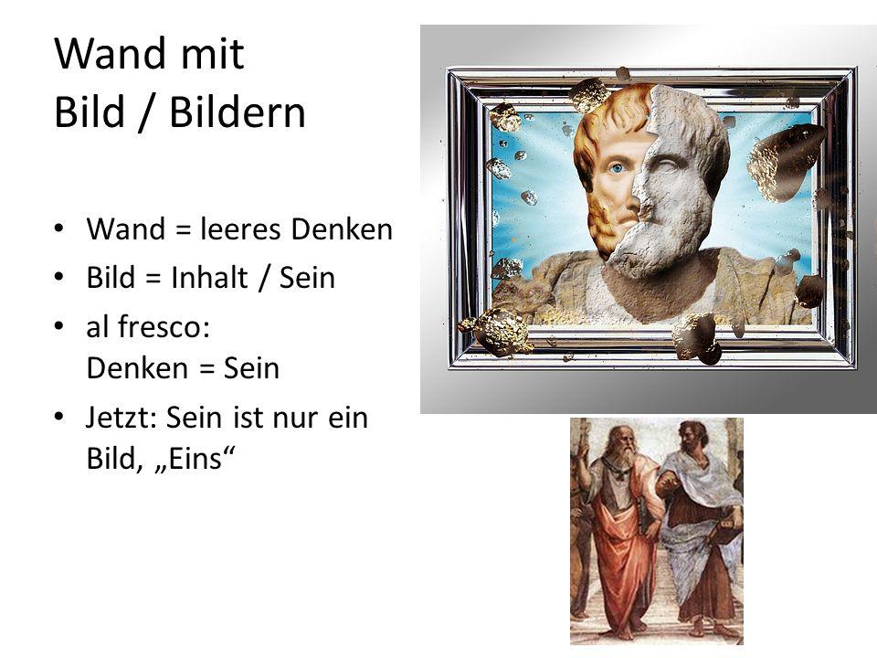 """Wand mit Bild / Bildern Wand = leeres Denken Bild = Inhalt / Sein al fresco: Denken = Sein Jetzt: Sein ist nur ein Bild, """"Eins"""