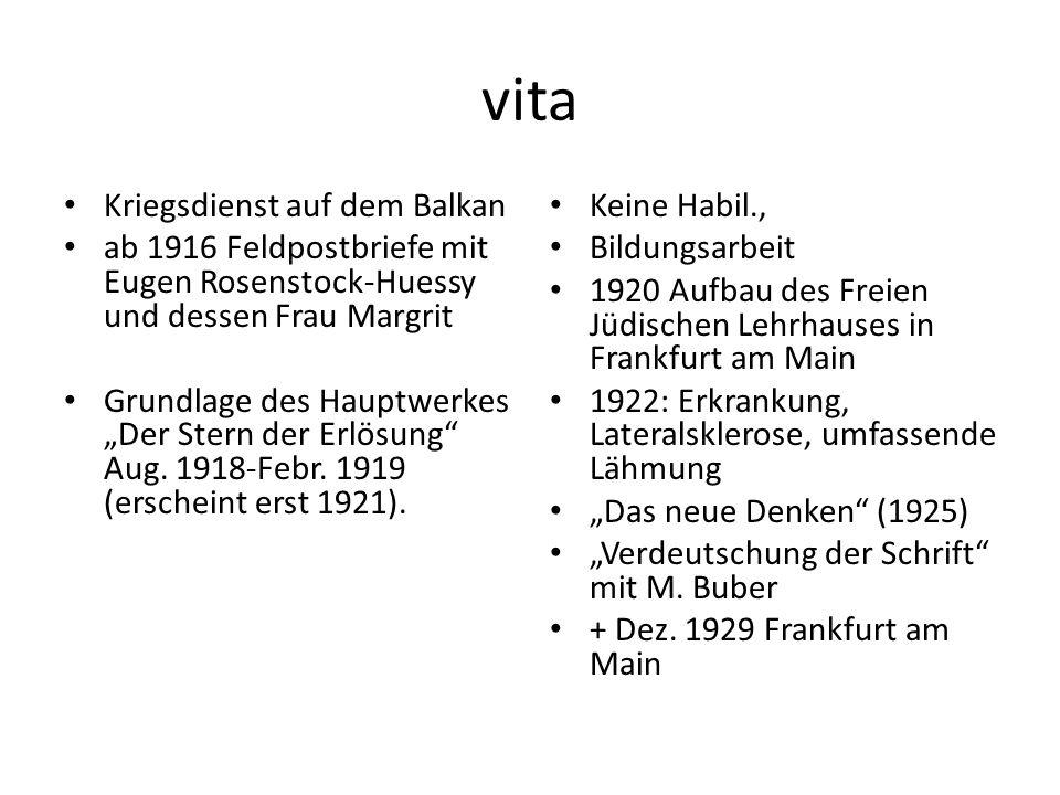 """vita Kriegsdienst auf dem Balkan ab 1916 Feldpostbriefe mit Eugen Rosenstock-Huessy und dessen Frau Margrit Grundlage des Hauptwerkes """"Der Stern der Erlösung Aug."""