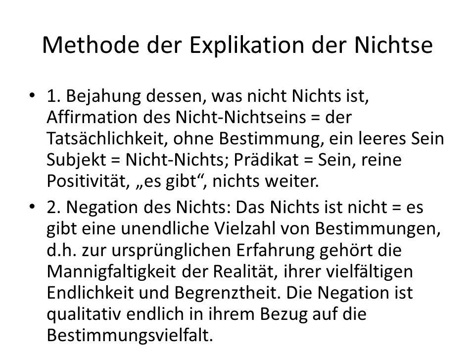 Methode der Explikation der Nichtse 1.